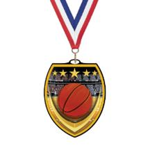 Vibraprint Basketball Shield Medal