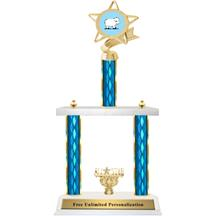 Two Tier Trophy - Ribbon Star Sheep