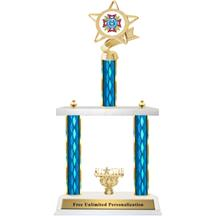Two Tier Trophy - Ribbon Star VFW