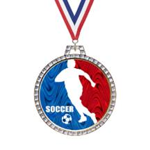 Holographic Diamond Soccer Medal